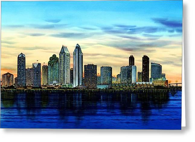 San Diego Skyline And Coronado At Dusk U.s.a Greeting Card by John YATO
