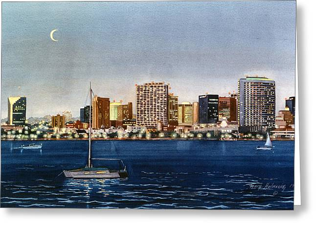 Southern Scene Greeting Cards - San Diego Skyline at Dusk Greeting Card by Mary Helmreich