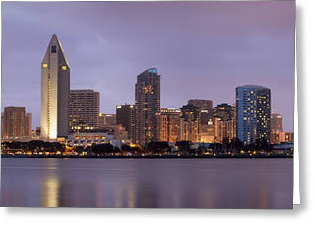 City Art Greeting Cards - San Diego Skyline at Dusk Panoramic Greeting Card by Adam Romanowicz