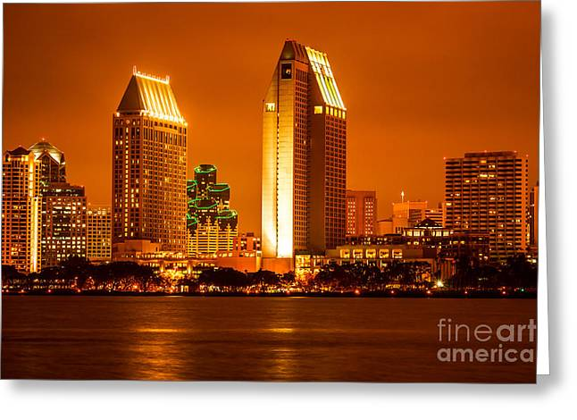 Condo Greeting Cards - San Diego Skyline at Night along San Diego Bay Greeting Card by Paul Velgos