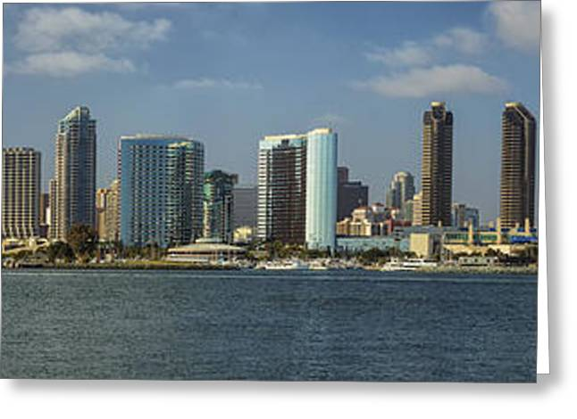 Metropolitan Greeting Cards - San Diego Skyline Daytime Panoramic Greeting Card by Adam Romanowicz