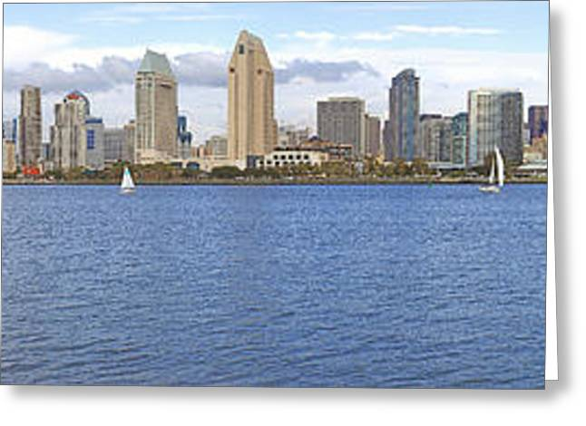 Boat Cruise Greeting Cards - San Diego skyline. Greeting Card by Gino Rigucci