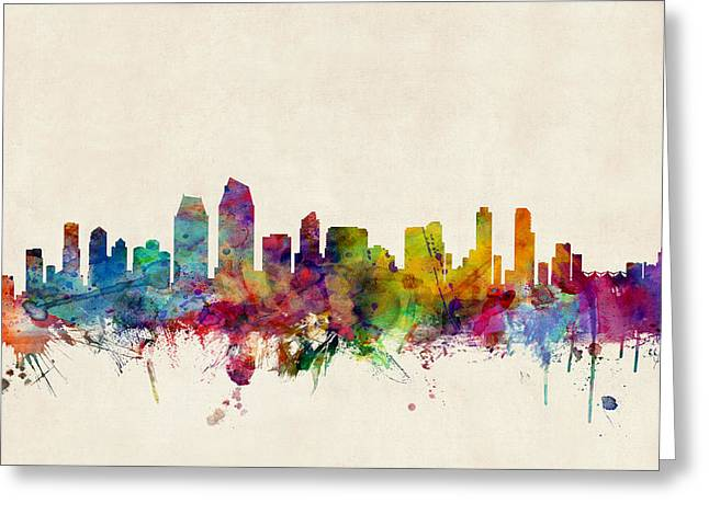 Skyline Greeting Cards - San Diego Skyline Greeting Card by Michael Tompsett