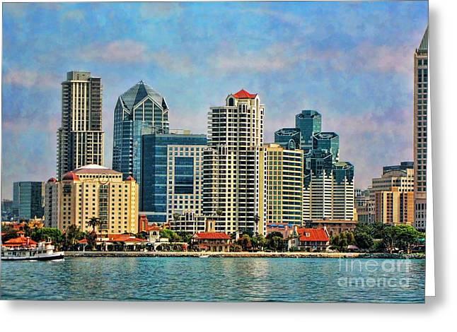 San Diego Skyline Greeting Card by Peggy Hughes