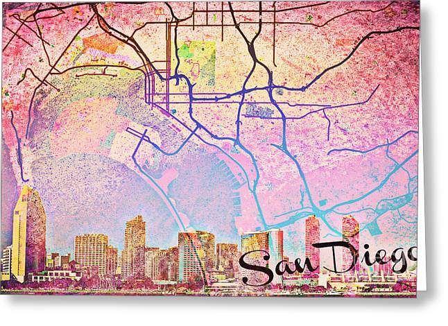 Red Buildings Mixed Media Greeting Cards - San Diego Skyline Trolley Greeting Card by Brandi Fitzgerald