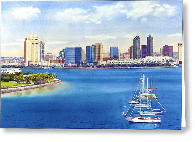 Skyline Paintings Greeting Cards - San Diego Skyline with Meridien Greeting Card by Mary Helmreich