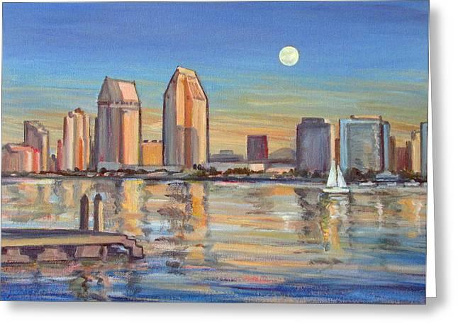 Hyatt Hotel Paintings Greeting Cards - San Diego Skyline with Moonrise Greeting Card by Robert Gerdes
