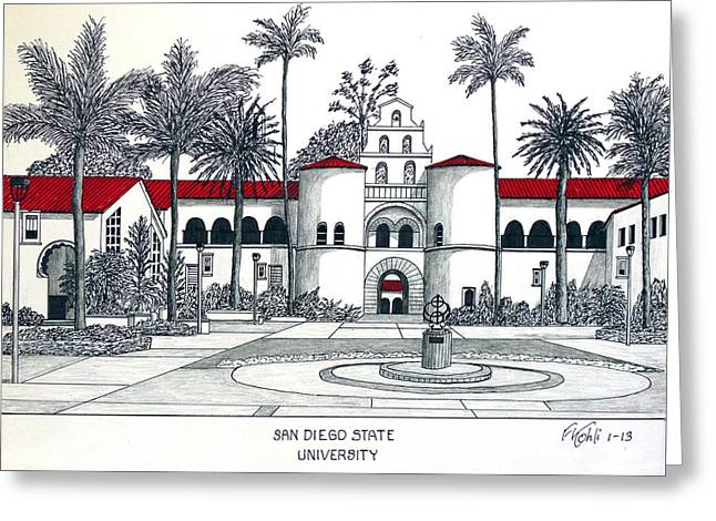 Famous University Buildings Drawings Greeting Cards - San Diego State Greeting Card by Frederic Kohli