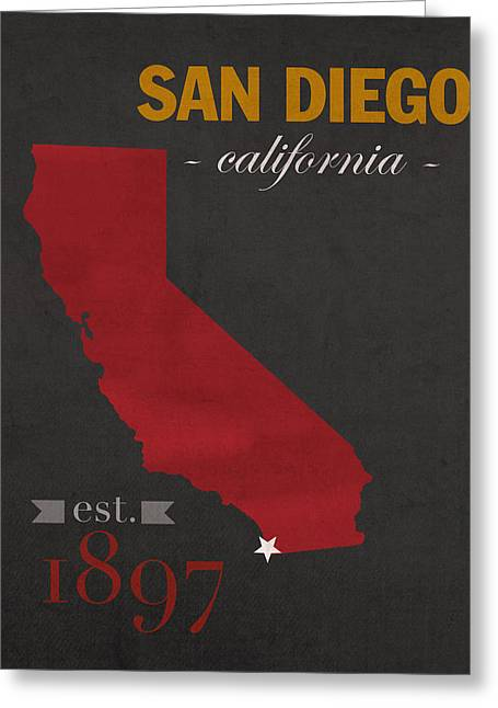 Town Mixed Media Greeting Cards - San Diego State University California Aztecs College Town State Map Poster Series No 093 Greeting Card by Design Turnpike