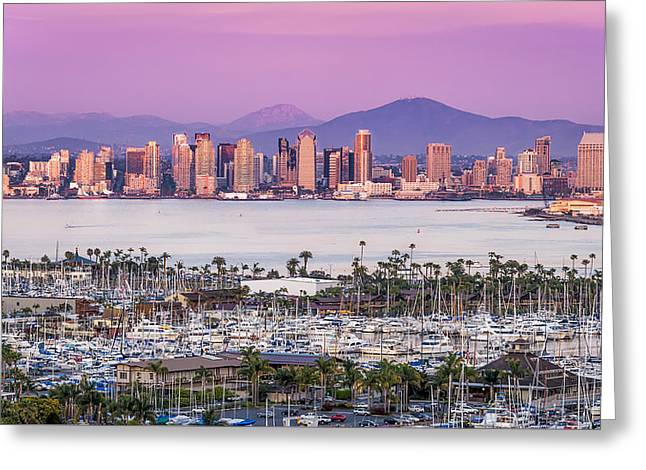 Yacht Greeting Cards - San Diego Sundown - San Diego Skyline Photograph by Duane Miller Greeting Card by Duane Miller