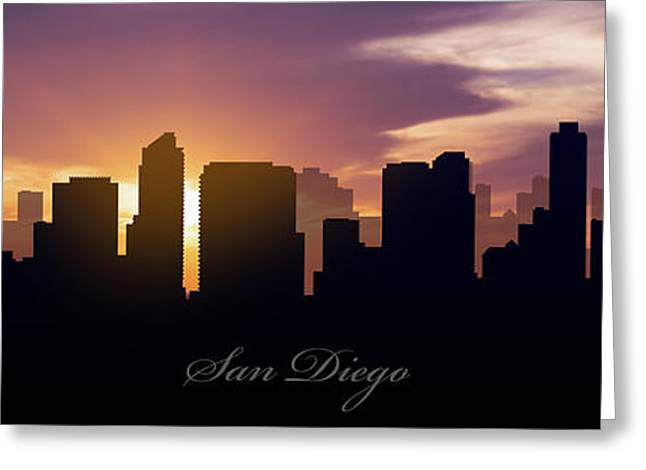 Metropolitan Greeting Cards - San Diego Sunset Greeting Card by Aged Pixel