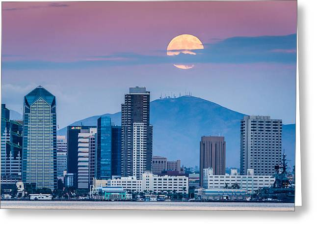 Moonrise Greeting Cards - San Diego Super Moonrise Greeting Card by Duane Miller