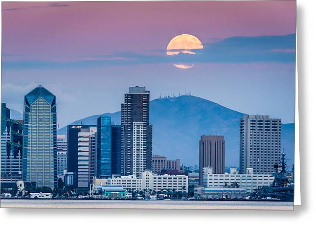 San Diego Super Moonrise - San Diego Skyline Photograph Greeting Card by Duane Miller