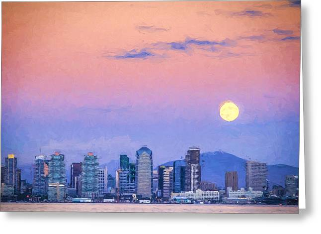Dusk Greeting Cards - San Diego Supermoon Digital Photo Art Greeting Card by Duane Miller