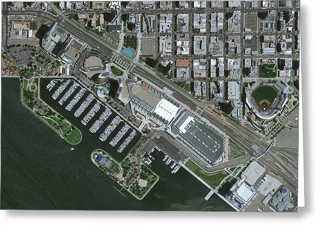Californian Greeting Cards - San Diego, USA, satellite image Greeting Card by Science Photo Library