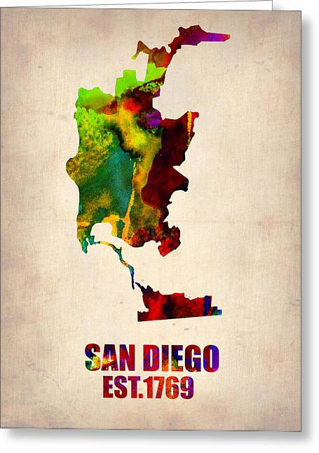 Watercolor! Art Greeting Cards - San Diego Watercolor Map Greeting Card by Naxart Studio