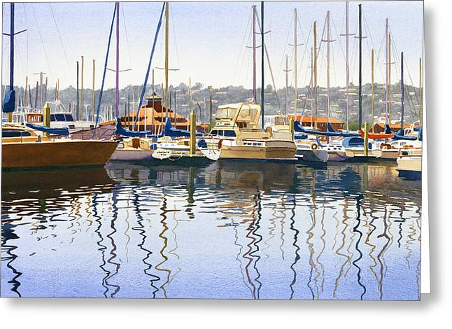 Boat Greeting Cards - San Diego Yacht Club Greeting Card by Mary Helmreich