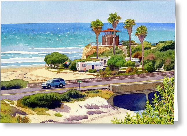 Sea Route Greeting Cards - San Elijo Campground Cardiff Greeting Card by Mary Helmreich