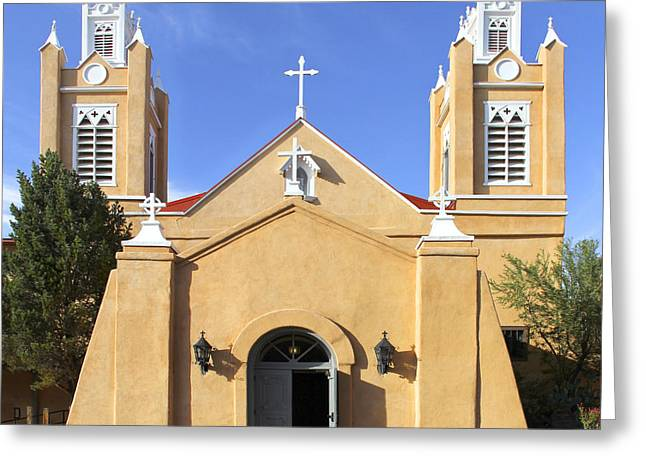Old Town Digital Greeting Cards - San Felipe Church - Old Town Albuquerque   Greeting Card by Mike McGlothlen