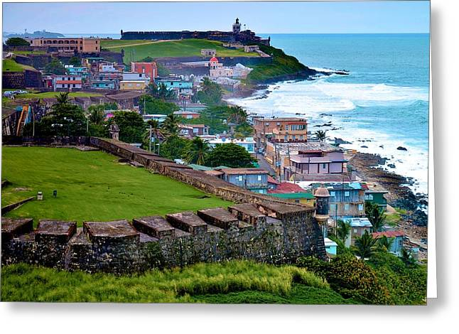 Paseo La Princesa De San Juan Greeting Cards - San Felipe del Morro fortress from San Cristobal Greeting Card by Ricardo J Ruiz de Porras