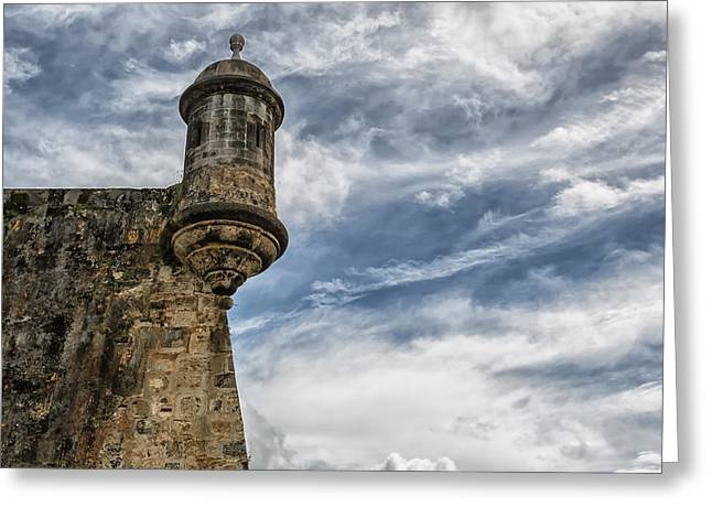 Watch Tower Greeting Cards - San Felipe Watchtower on a Stormy Day Greeting Card by Andres Leon