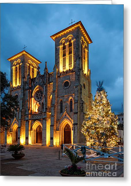 Del Rio Greeting Cards - San Fernando Cathedral and Christmas Tree Main Plaza - San Antonio Texas Greeting Card by Silvio Ligutti