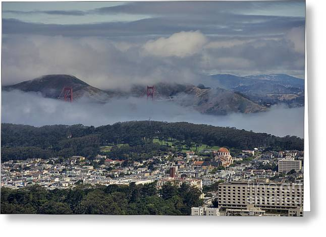 Twin Peaks Greeting Cards - San Fran and Marin Highlands Greeting Card by David Bearden