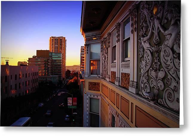 Sutter Street Greeting Cards - San Fran Sunrise Greeting Card by Garrett Nyland