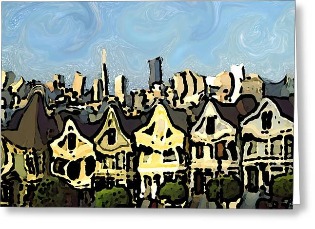 Downtown San Francisco Mixed Media Greeting Cards - San Francisco 12 - Expressionistic Art Painting Greeting Card by Peter Fine Art Gallery  - Paintings Photos Digital Art