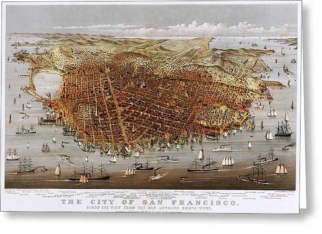 Urban Images Drawings Greeting Cards - Antique San Francisco Map 1878 Greeting Card by Currier and Ives