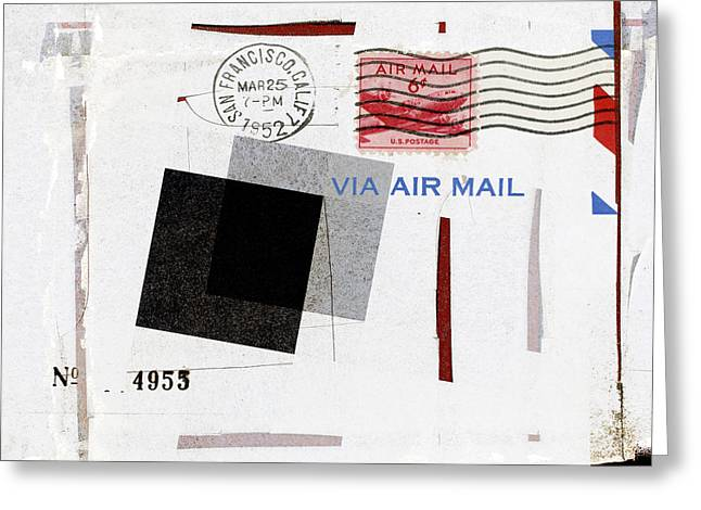 Postal Photographs Greeting Cards - San Francisco 1952 Air Mail Square Greeting Card by Carol Leigh