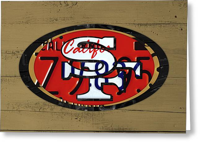 49ers Greeting Cards - San Francisco 49ers Football Team Retro Logo California License Plate Art Greeting Card by Design Turnpike