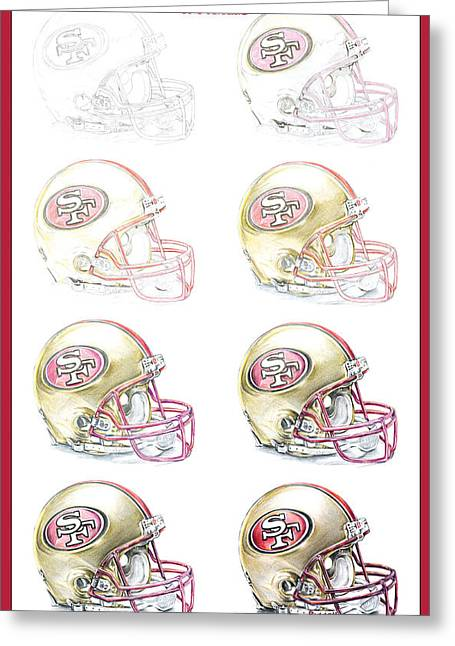 Sayers Greeting Cards - San Francisco 49ers Helmet Steps Greeting Card by James Sayer