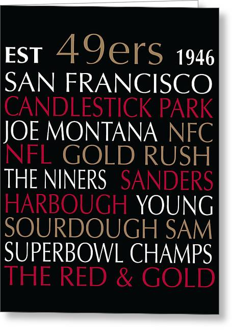 Football Words Greeting Cards - San Francisco 49ers Greeting Card by Jaime Friedman