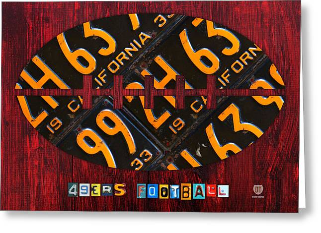 49ers Greeting Cards - San Francisco 49ers NFL Football Recycled License Plate Art Greeting Card by Design Turnpike