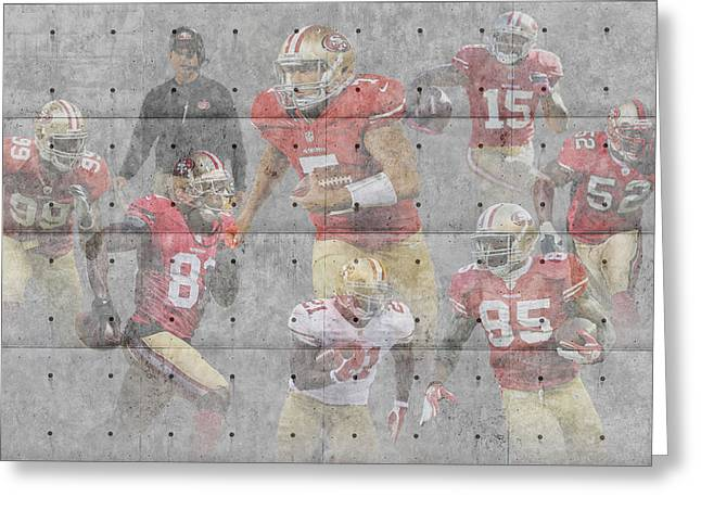Christmas Greeting Greeting Cards - San Francisco 49ers Team Greeting Card by Joe Hamilton