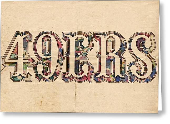 Sports Logo Greeting Cards - San Francisco 49ers Vintage Logo Greeting Card by Florian Rodarte