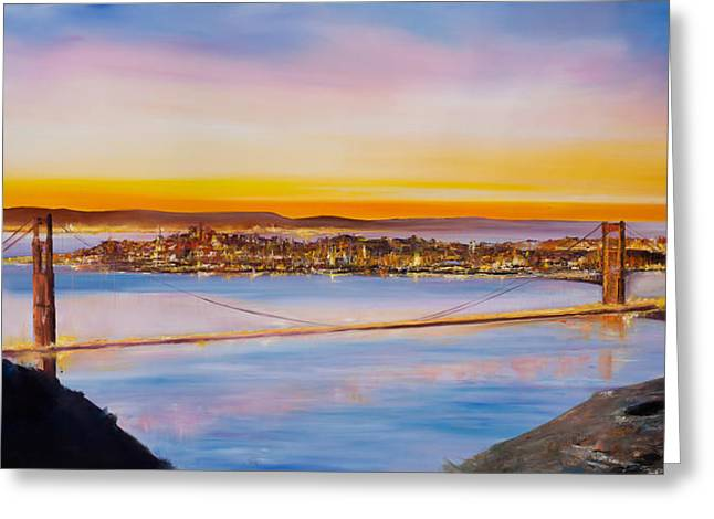 Golden Gate Paintings Greeting Cards - San Francisco Abstract Greeting Card by Manit