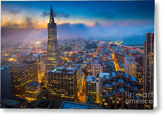 Foggy Landscape Greeting Cards - San Francisco After Dark Greeting Card by Inge Johnsson