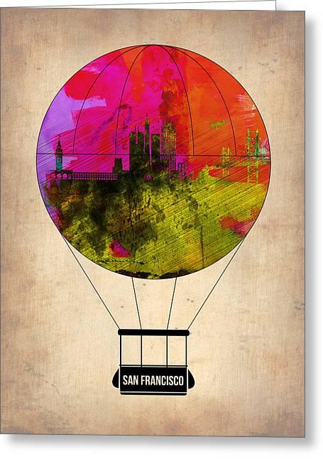 San Francisco Greeting Cards - San Francisco Air Balloon 1 Greeting Card by Naxart Studio