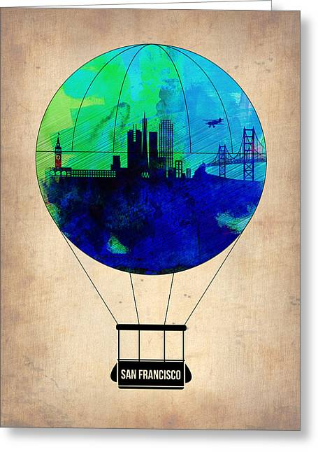 Air Greeting Cards - San Francisco Air Balloon Greeting Card by Naxart Studio