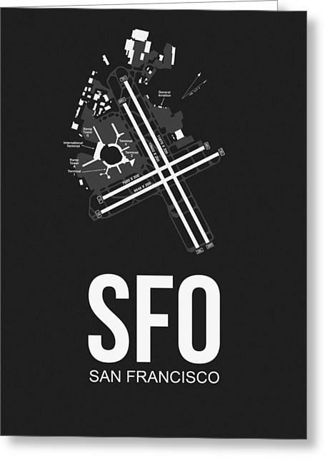 San Francisco Greeting Cards - San Francisco Airport Poster 1 Greeting Card by Naxart Studio