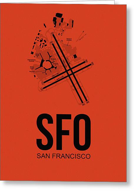 San Francisco Airport Poster 2 Greeting Card by Naxart Studio