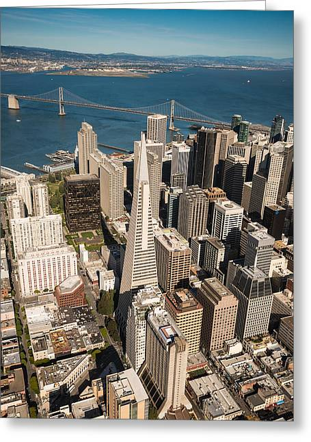 Downtown San Francisco Photographs Greeting Cards - San Francisco Aloft Greeting Card by Steve Gadomski