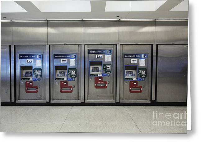 Vending Machine Photographs Greeting Cards - San Francisco BART Station Ticket Machines - 5D20615 Greeting Card by Wingsdomain Art and Photography
