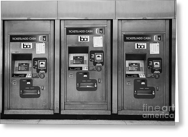 Vending Machine Photographs Greeting Cards - San Francisco BART Station Ticket Machines - 5D20617 - Black and White Greeting Card by Wingsdomain Art and Photography