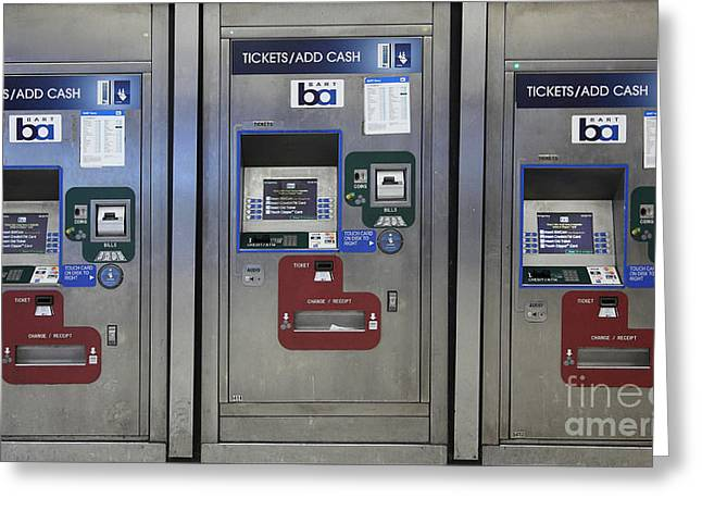 Vending Machine Photographs Greeting Cards - San Francisco BART Station Ticket Machines - 5D20617 - v2 Greeting Card by Wingsdomain Art and Photography