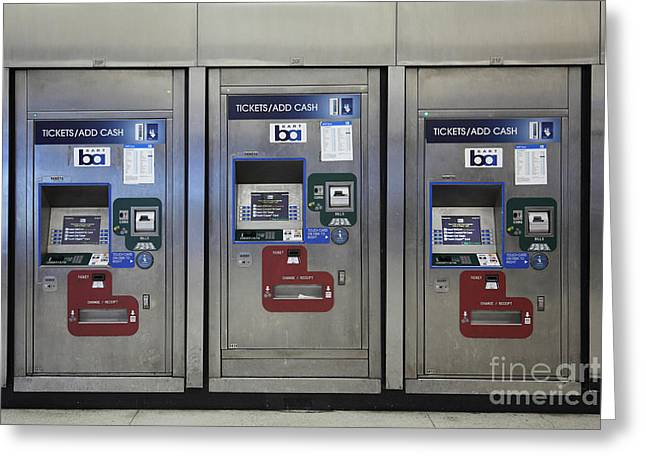 Vending Machine Photographs Greeting Cards - San Francisco BART Station Ticket Machines - 5D20617 Greeting Card by Wingsdomain Art and Photography