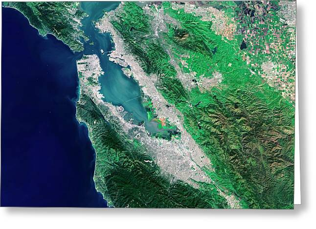 San Francisco Bay Area Greeting Card by European Space Agency/usgs