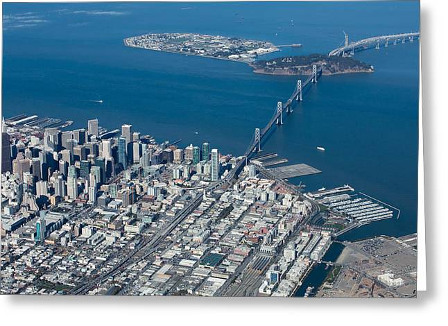 Stadium Design Greeting Cards - San Francisco Bay Bridge Aerial Photograph Greeting Card by John Daly